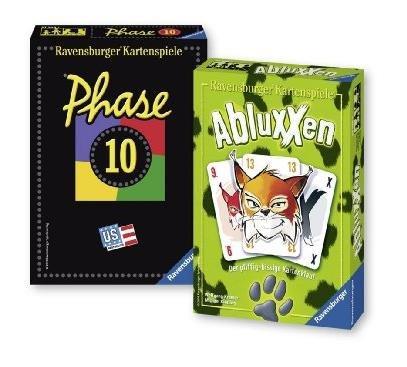 [Amazon Prime] Ravensburger 81883 Phase 10 und Abluxxen, Kartenspiel zusammen für 8,99 € [neuer Bestpreis hier]