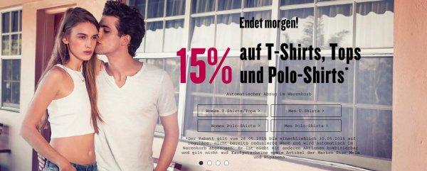 Tom Tailor: 15 % Rabatt auf reguläre T-Shirts, Tops, Poloshirts bis morgen, 30.05.15