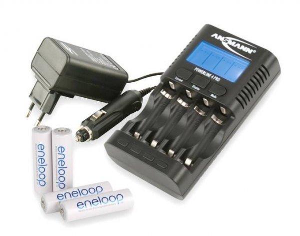 Ansmann Ladegerät Powerline 4 pro + 4x Sanyo Eneloop HR-3UTGB @allyouneed für 35,99