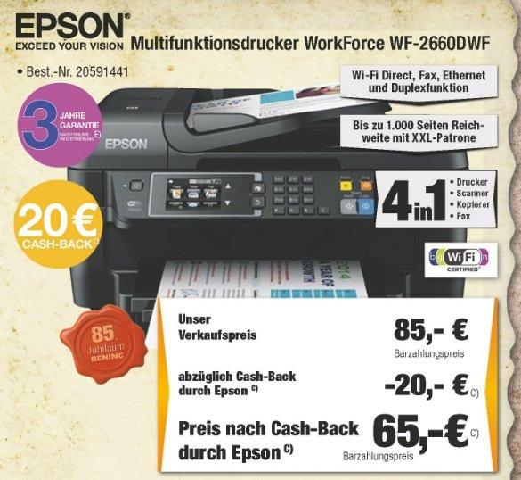 [Lokal Expert Bening] Epson WorkForce WF-2660DWF für 85€ / zusätzlich 20€ Cashback möglich
