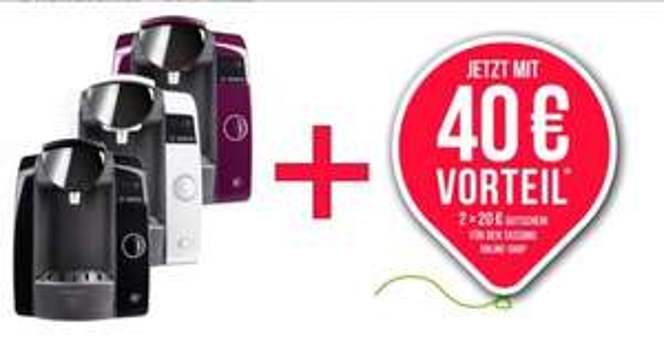 Bosch Tassimo Joy Kaffeemaschine in versch. Farben für 44,99€ inkl.VSK + 40 EUR Online Gutschein @rakuten.de