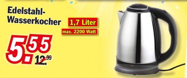 [Zimmermann] 1,7 Liter Edelstahl Wasserkocher 5,55 Euro