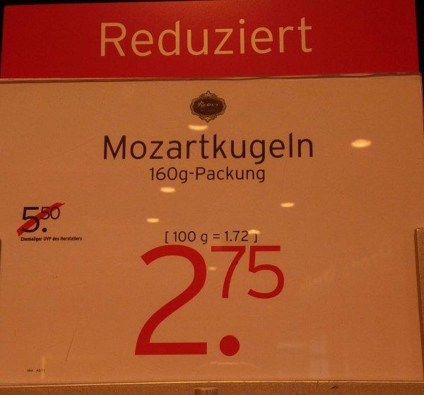Reber Mozartkugeln 160g bei Karstadt für 2,75€ statt 5,50€