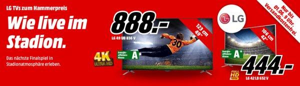 Mediamarkt LG 3D SmartTVs: 49UB836V für 888€ (PVG 999€), 42LB652V für 444€ (PVG 499€)