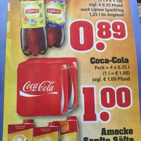 [Trinkgut] Coca Cola 4x 0,25l Dosen 1€