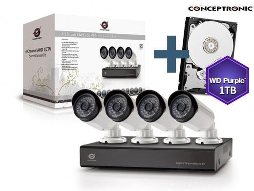 [Ibood] Conceptronic 4-Channel AHD CCTV Überwachungs Kit mit 4 Cams + 1TB WD Purble Festplatte für 248,90€ inc. Versand