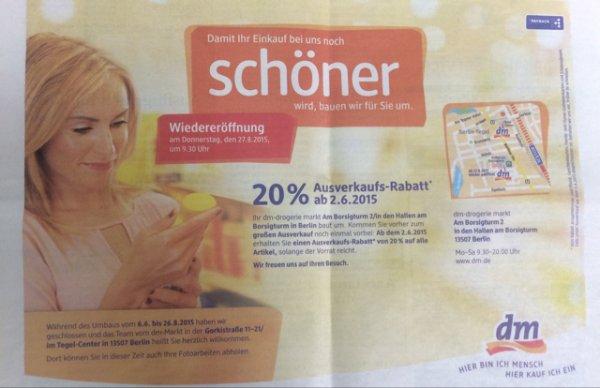dm Hallen am Borsigturm Ausverkauf 20% bzw.50% auf Kosmetik