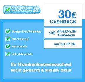 [QIPU] Krankenkassenwechselservice mit 30€ Cashback + 10€ Amazon Gutschein