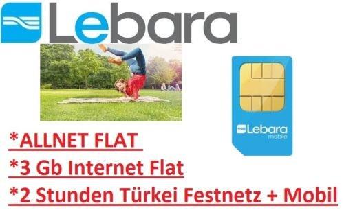 EBAY 11,99€ 30Tage Sim-Only Lebara Allnet Flat 3 GB + 2 Std Türkei Festnetz & Mobil
