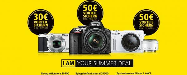 Nikon Summer Deal, cashback bis 50 Euro z.b. Nikon 5300 S9900 Nikon 1 AW1