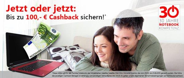100 Euro Toshiba Cashback Notebook Satellite Kira Qosmio Satellite Click Mini bis 21.06.2015