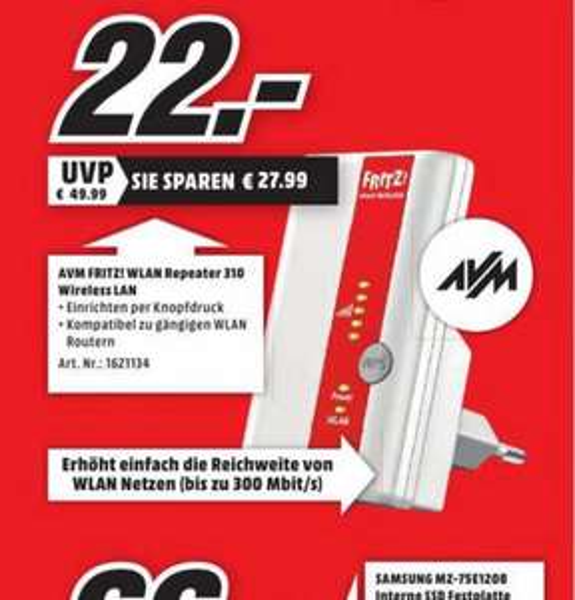 (lokal Essen&Duisburg Marxloh) AVM FRITZ!WLAN Repeater 310 für 22€, Amazon Fire TV Stick für 29€ @ Mediamarkt