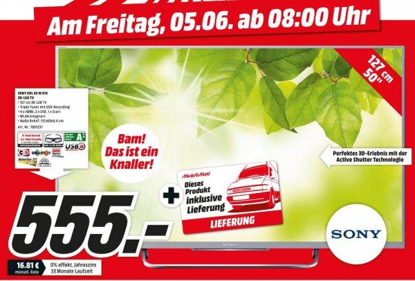 [Lokal Mediamarkt Münster] Sony KDL-50W815B 126cm (50 Zoll) 3D-LED-Backlight-Fernseher (Full HD, 600Hz Motionflow XR, Smart View, DVB-T/T2/C/S/S2, CI+, WLAN, Skype, X-Reality PRO) [Energieklasse A++]  für 555,-€ inc.Kostenloser Lieferung (Nur Münster