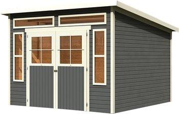 Karibu Langenau 7 Gartenhaus Holz Haus Hütte grau