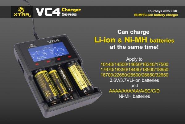 Xtar VC4 - Ladegerät für Li-Ion 3,6V - 3,7V und NIMH Akkus für 22,06€ inkl. VSK