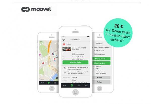 Flinkster-Fahrzeug über Moovel buchen – bis zu 20 € Rabatt auf die erste Fahrt