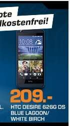 """[Saturn Late Night] HTC Desire 626G, Android Smartphone, 5"""" HD Display, Octa Core, 3G, WLAN, 13 MP in Weiß oder Blau ab 204,-€"""