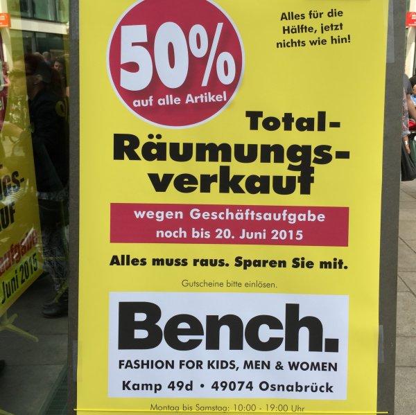 [lokal Osnabrück] 50% auf alles bei Bench.