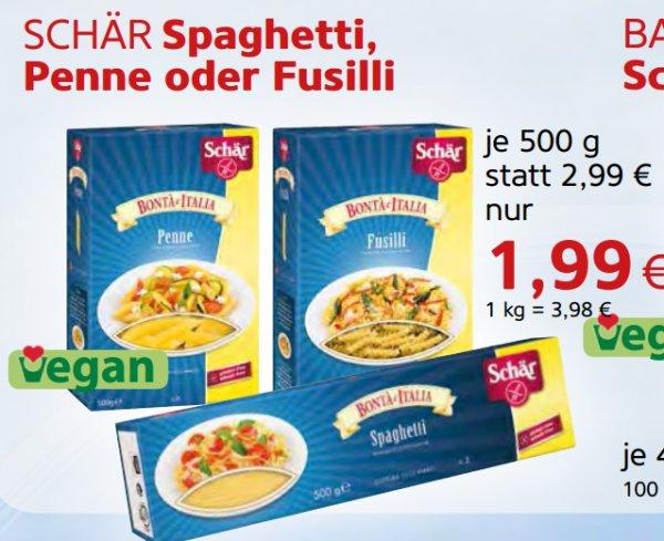 [VITALIA // REFORMHAUS] SCHÄR - Glutenfreie Spaghetti/Penne/Fusilli 500g für 0,99€ (Angebot+Coupies)