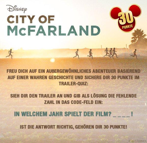 "30 Disney Movies and More Punkte im ""City of McFarland"" Trailerquiz"