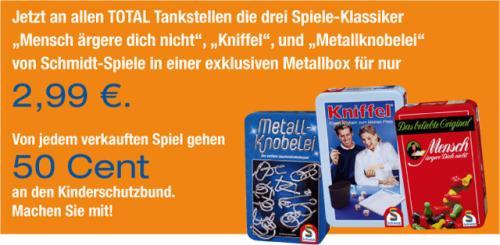 """Kniffel oder """"Mensch ärgere Dich nicht"""" Schmidt Spiele - Klassiker in der Metallbox inkl. Spende bei TOTAL"""