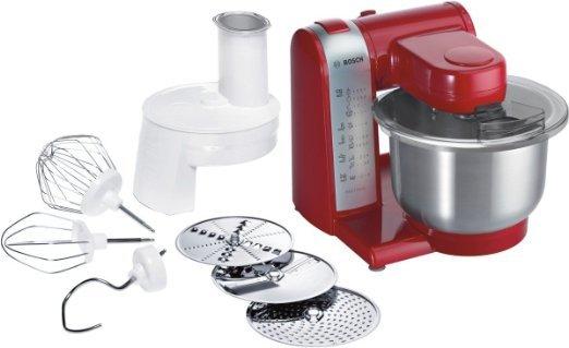 [WHD] Bosch MUM48R1 Küchenmaschine MUM4 (600 Watt, 3.9 Liter, Edelstahl-Rührschüssel, Durchlaufschnitzler, Rezept DVD) rot
