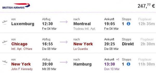 Gabelflüge nach Nordamerika (mit New York oder Miami) ab 232€