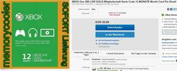 [EBAY ]Xbox Live GOLD Mitgliedschaft 12 Monate 30,99€