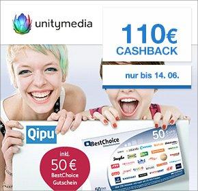 Qipu: Unitymedia – 2play Comfort 120 – 110€ Cashback + 60€ Online Vorteil + 50€ BestChoice Einkaufsgutschein - 18,32€ monatlich!