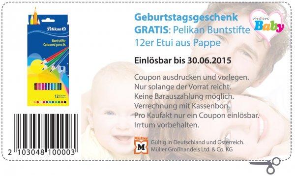 Müller Bundesweit und Österreich Pelikan Buntstifte 12er Etui aus Pappe Normalpreis 1,59€