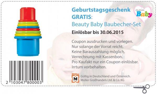 Müller Bundesweit und Österreich Beauty Baby Bau-Becher-Set Normalpreis 2,75€