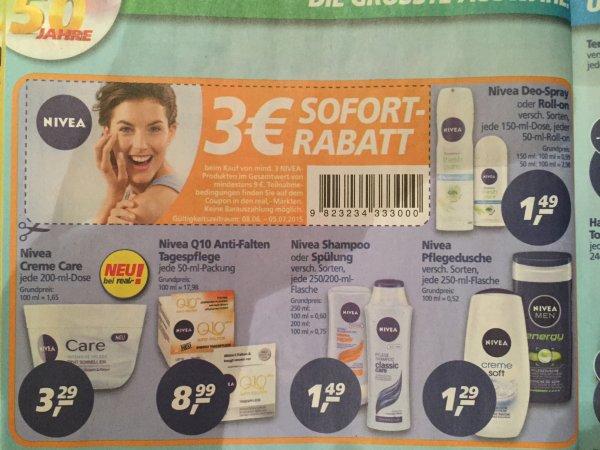 [Real] Nivea 3€ Sofort Rabatt ab 9€ (mind. 3 Produkte)