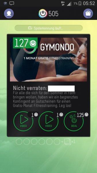 1 Monat Gymondo Premium im Wert von 8,99€ kostenlos über die TVSMILES App