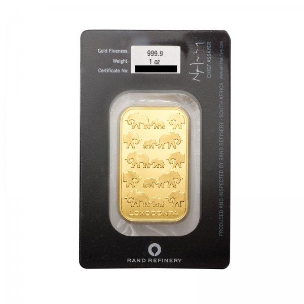 [ebay / Primus Münzen]1 Unze Goldbarren zum Spot Elefanten 999,9er Gold Rand Refinery Südafrik