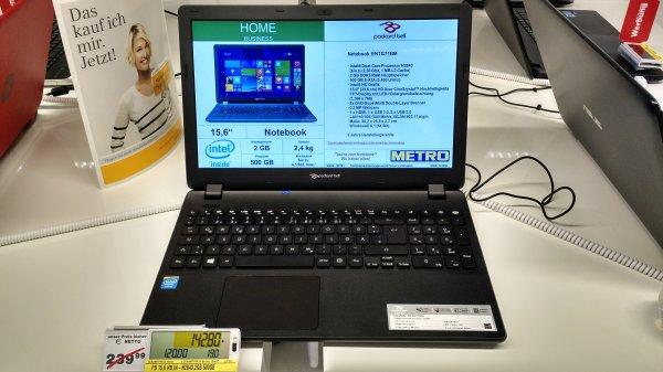 """[LOKAL HH - METRO] Packard Bell 15,6"""" Billig-Notebook mit Celeron N2840, 2GB RAM, 500GB HDD"""