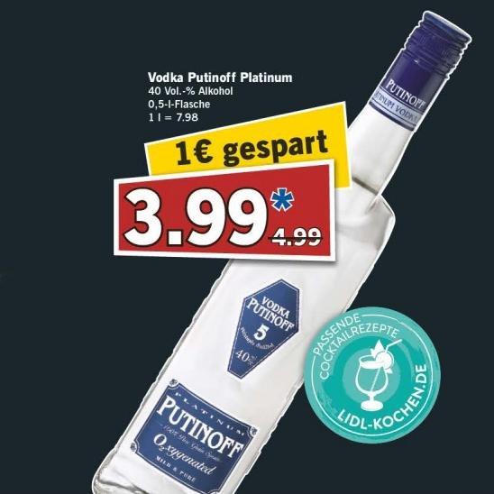[Lidl] Vodka Putinoff Platinum für 3,99 € am 13.06.2015