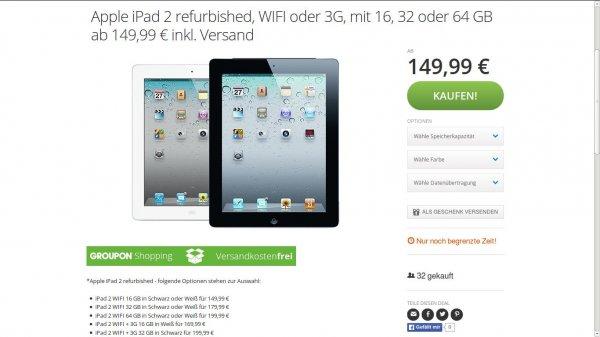 Apple iPad 2 refurbished, WIFI oder 3G, mit 16, 32 oder 64 GB ab 149,99 € inkl. Versand - Groupon