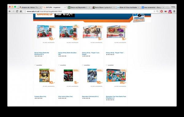 (Saturn.at) Bayonetta 2 10€, COD AW 10€, Pokemon Rubin/Saphir 25€.. viele weitere Angebote
