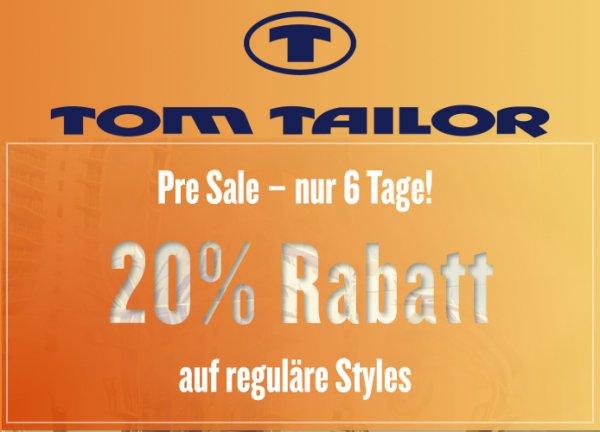 20% Online-Rabatt auf reguläre Ware bei TOM TAILOR