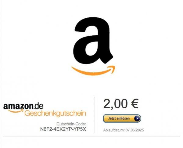 [ebay] 2,00 € Amazon Gutschein Gutscheincode für 1,25 €