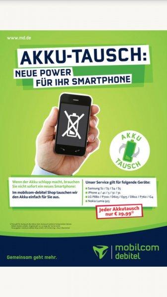 Akku -Tausch Iphone 4, 4s, 5, 5c und 5s in den mobilcom Shops für 29,99