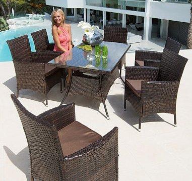 Gartenmöbelset Santiago - 20 Teile! (1x Tisch, 6x Stühle, 12x Auflagen, 1x Abdeckung) - @Otto.de