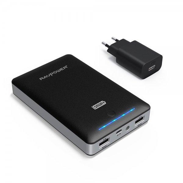 (Amazon Blitzangebot) RAVPower 16000mAh Externer Akku mit eingebautem Flashlicht & 2A Adapter, Schwarz
