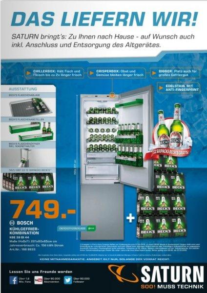 Kühlgefrierkombi von Bosch mit Beck´s Sonderausstattung und 72 Stück Beck´s gratis bei Saturn
