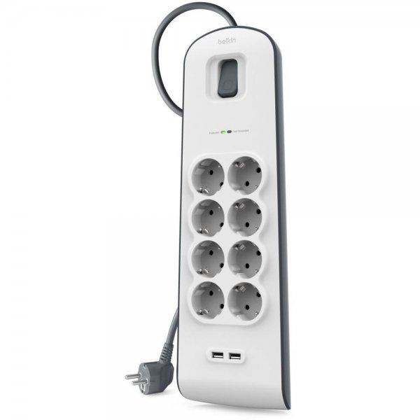 Belkin BSV804VF2M Surge Plus Steckdosenleite 8-fach mit 2 USB 2,4A weiß/grau 2m