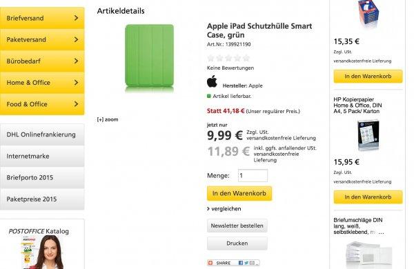 (Geschäftskunden) Apple iPad Smart Case (2., 3. und 4. Generation) für 9,99€/11,89€ bei postofficeshop.de