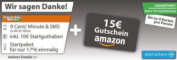 [LogiTel] 15€ Amazon + 10€ Simkarte für nur 1€ (+1,95€ Anschlusspreis), bis zu 4x pro Person.