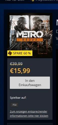 PSN | PS4 | Metro Redux für 15,99 oder Einzel-Titel für 9,99€ für PS+Mitglieder