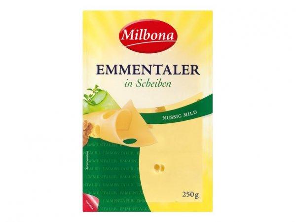 [Lidl SuperSamstag 13.6.] Milbona Emmentaler in Scheiben - 250 Gramm für 1,29 Euro