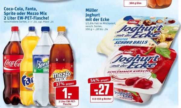 [Rewe] Joghurt mit der Ecke 0,27€, 2l Coca Cola 1€ (0,5€/l)